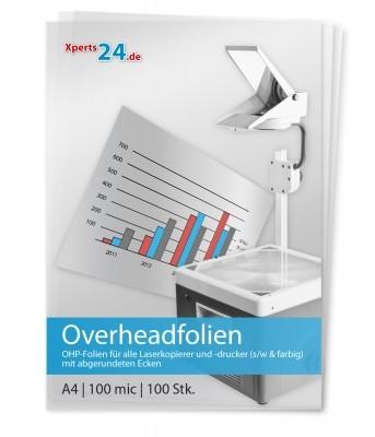 Overhead-Folien für Laserkopierer und -drucker s/w und farbig A4 , abgerundete Ecken