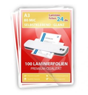 selbstklebende Laminierfolien A3, 2 x 80 Mic, glänzend