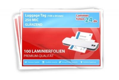 Laminierfolien Gepäckanhänger mit Schlitz (64 x 108 mm), 2 x 250 Mic, glänzend