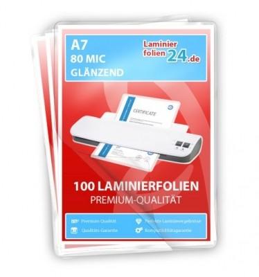 Laminierfolien A7 (80 x 111 mm), 2 x 80 Mic, glänzend