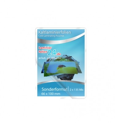 Kaltlaminierfolien Sonderformat 66 x 100 mm, 2 x 150 Mic, glänzend