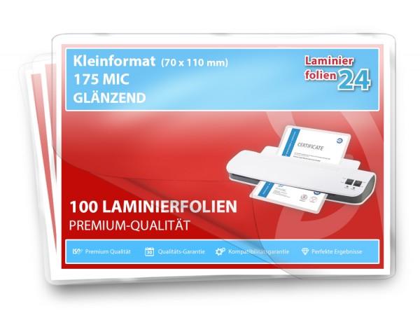 Laminierfolien Kleinformat (70 x 100 mm), 2 x 175 Mic, glänzend