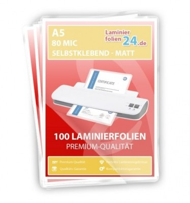 selbstklebende Laminierfolien A5, 2 x 80 Mic, matt