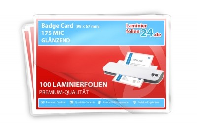 Laminierfolien Badge Card (67 x 98 mm) , 2 x 175 Mic, glänzend