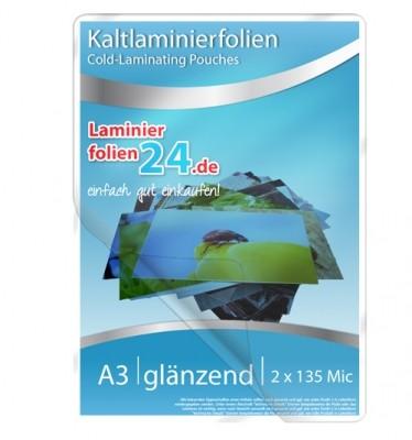 Kaltlaminierfolien A3, 2 x 150 Mic, glänzend (303 x 426 mm)