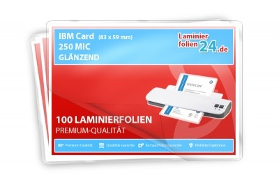 Laminierfolien IBM Card (59 x 83 mm), 2 x 250 Mic, glänzend