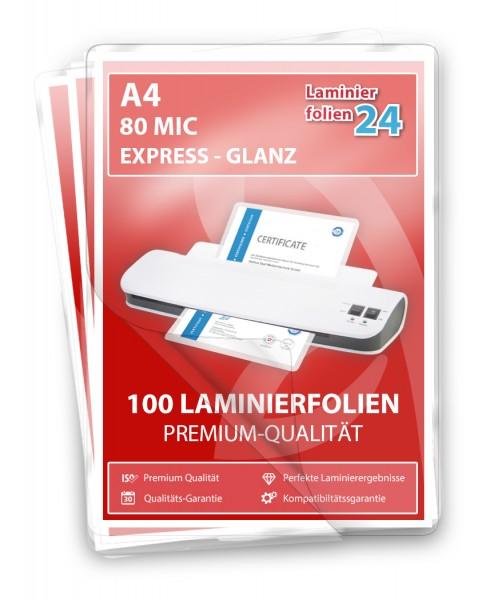 Laminierfolien A4, 2 x 80 Mic, glänzend, EXPRESS