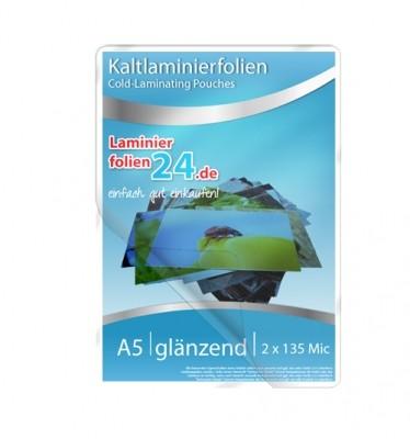 Kaltlaminierfolien A5, 2 x 150 Mic, glänzend (160 x 222 mm)