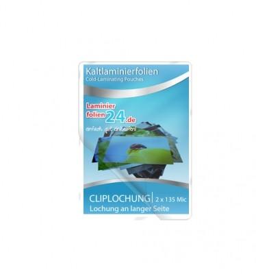 Kaltlaminierfolien mit Clip-Lochung lange Seite, 2 x 150 Mic, glänzend (105 x 74 mm)