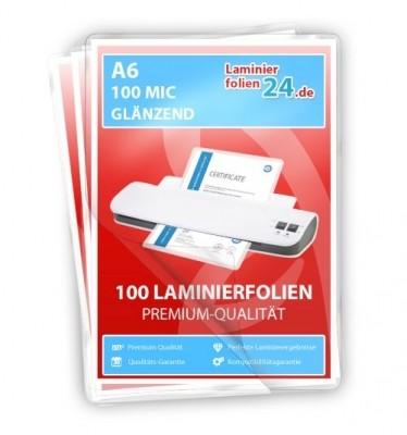 Laminierfolien A6, 2 x 100 Mic, glänzend
