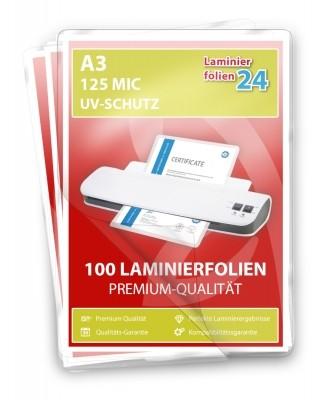 Laminierfolien mit UV-Schutz A3, 2 x 125 Mic, glänzend