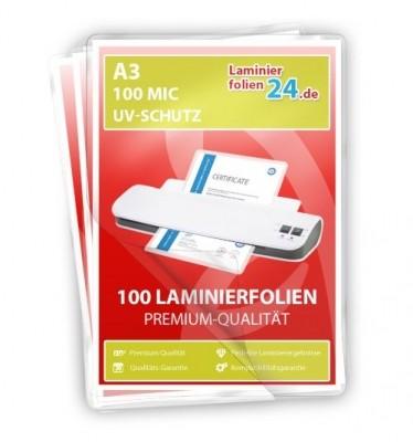 Laminierfolien mit UV-Schutz A3, 2 x 100 Mic, glänzend